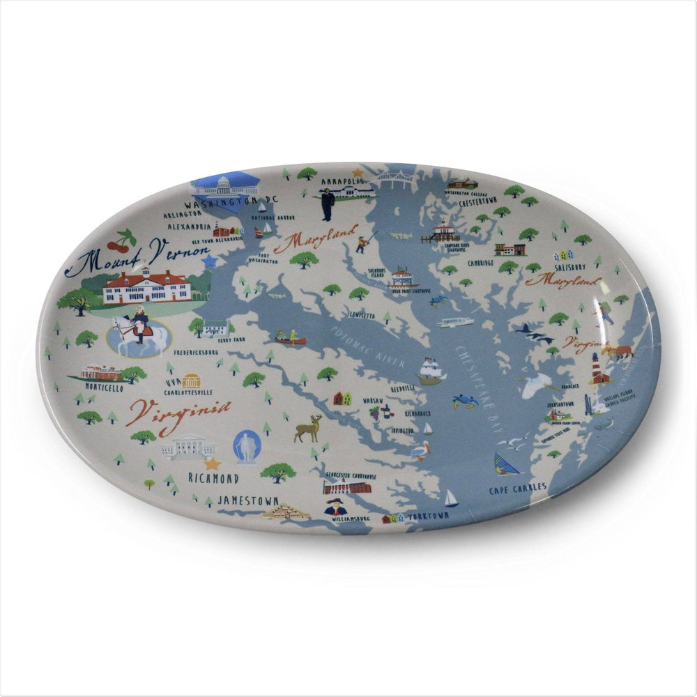 Mount Vernon Chesapeake Bay Map Tidbit Tray - Galleyware - The Shops at Mount Vernon