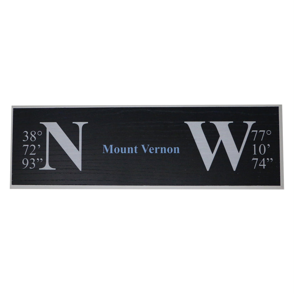 Mount Vernon Longitude and Latitude Sign - Miller McLeod Home Decor - The Shops at Mount Vernon