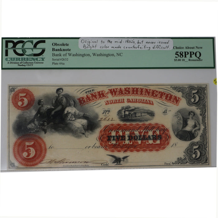 The Bank of Washington, NC. $5.00 Note - DAVID CONSOLVO - The Shops at Mount Vernon