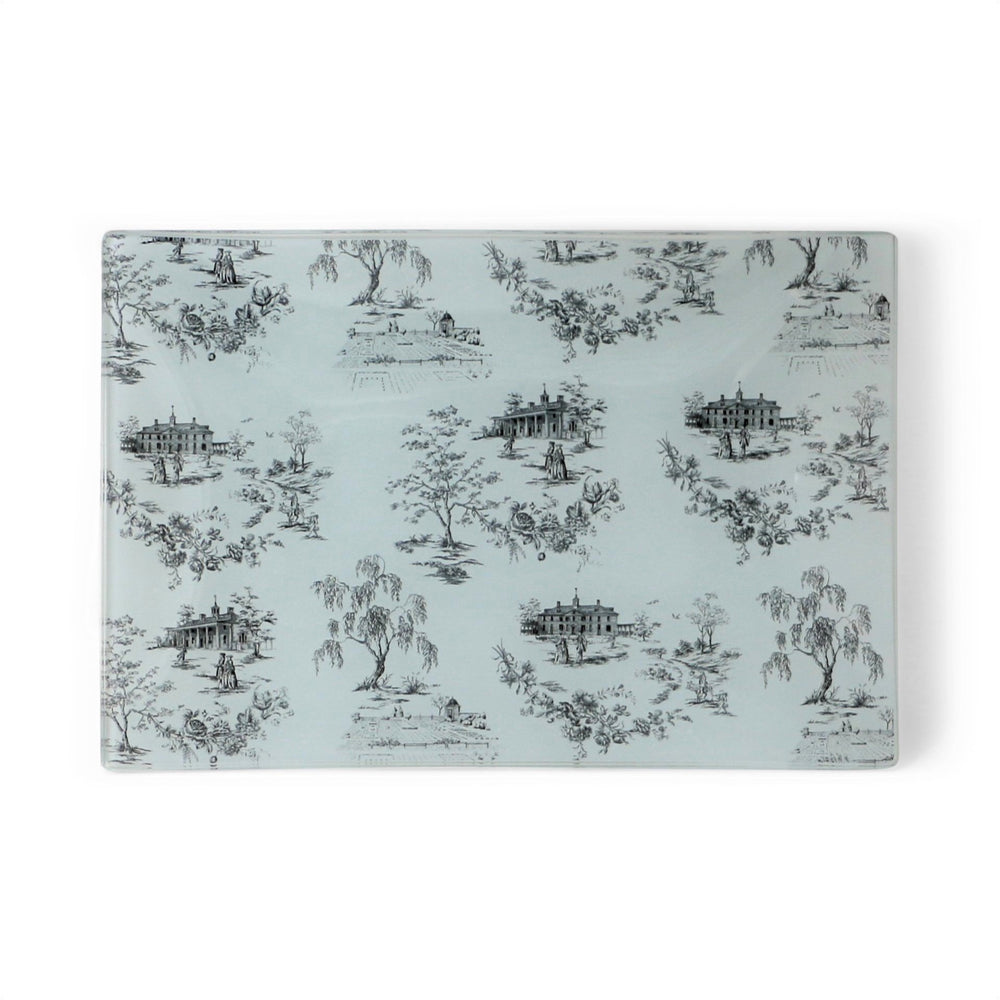Black and White Glass MV Toile Tray - Promo Imports LLC First Souvenir - The Shops at Mount Vernon