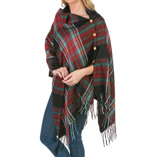 Black and Multicolor 3-In-1 Plaid Wrap - TOP IT OFF - The Shops at Mount Vernon