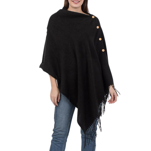 Solid Black 3-In-1 Fringed Wrap - TOP IT OFF - The Shops at Mount Vernon