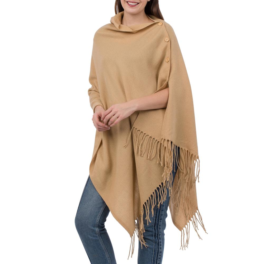 Solid Camel 3-In-1 Fringed Wrap - TOP IT OFF - The Shops at Mount Vernon