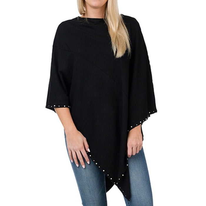 Black Evening Poncho with Pearls - TOP IT OFF - The Shops at Mount Vernon