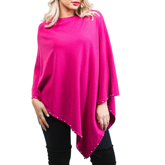 Magenta Evening Poncho with Pearls - TOP IT OFF - The Shops at Mount Vernon