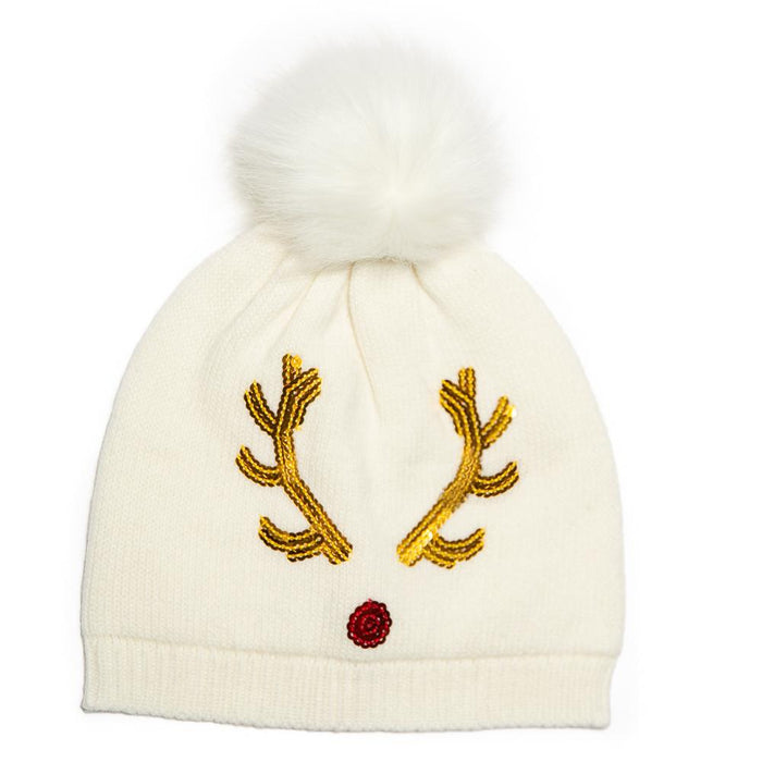 Reindeer Sequin Pom Pom Hat - TOP IT OFF - The Shops at Mount Vernon