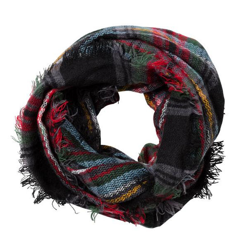 Black Multi Plaid Infinity Scarf - TOP IT OFF - The Shops at Mount Vernon