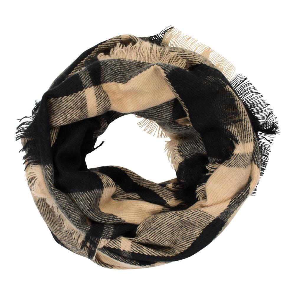Camel Plaid Infinity Scarf - TOP IT OFF - The Shops at Mount Vernon