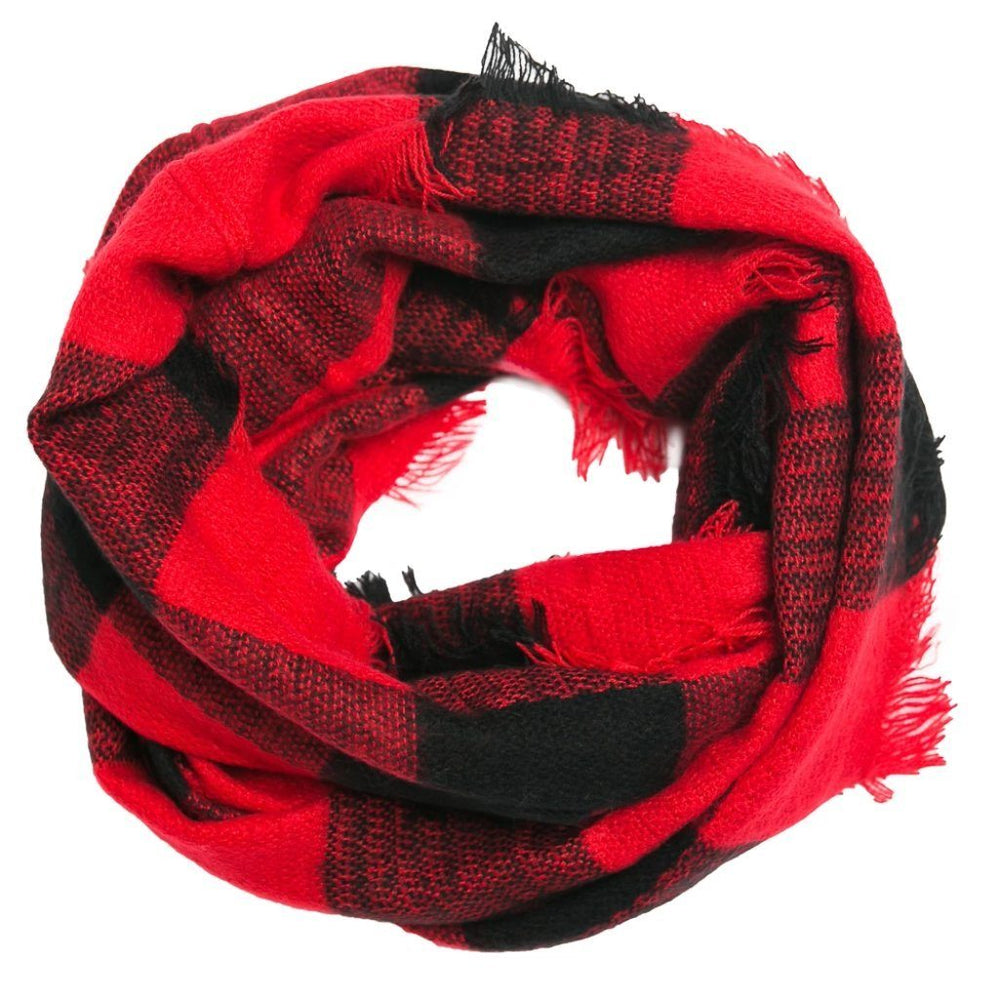 Red and Black Buffalo Check Infinity Scarf - TOP IT OFF - The Shops at Mount Vernon