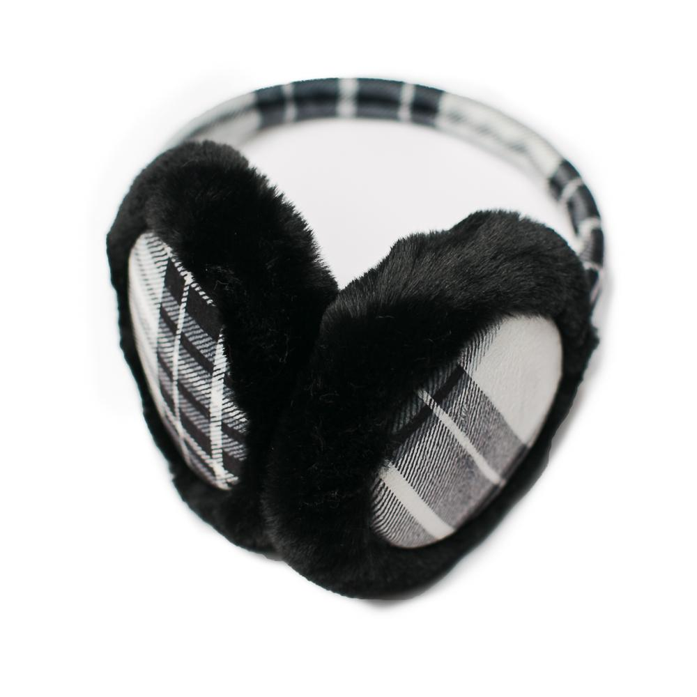 Black & White Plaid Earmuffs - TOP IT OFF - The Shops at Mount Vernon