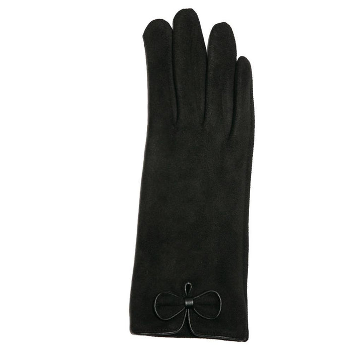 Black Faux Suede Bow Gloves - TOP IT OFF - The Shops at Mount Vernon