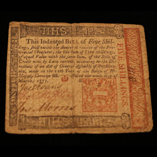 1700s Paper Money of Pennsylvania - DAVID CONSOLVO - The Shops at Mount Vernon