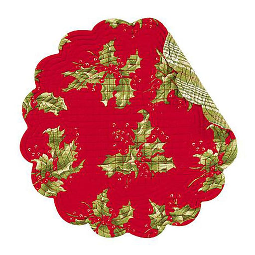 Holly Red Round Placemat - C & F ENTERPRISE - The Shops at Mount Vernon