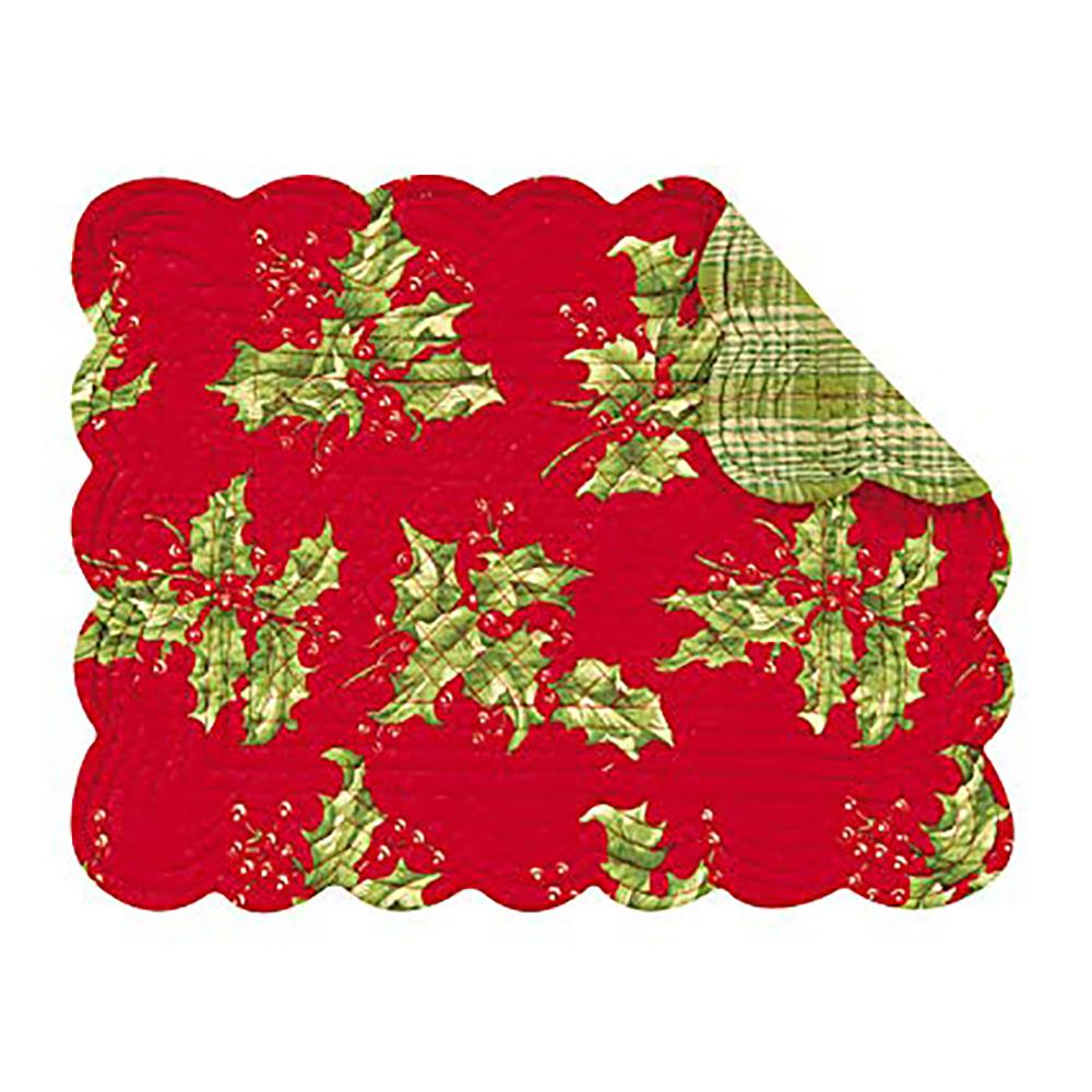 Holly Red Rectangular Placemat - C & F ENTERPRISE - The Shops at Mount Vernon