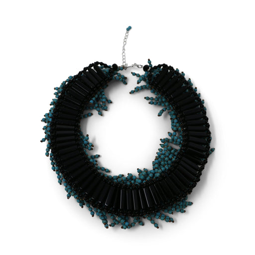 Turquoise Colored Boa Collar Necklace - Valerie Sanson - The Shops at Mount Vernon