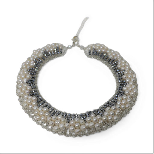 Freshwater Pearl and Smoky Crystal Collar Necklace - Valerie Sanson - The Shops at Mount Vernon