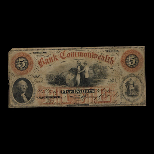 1861 Five-Dollar Antique Note - DAVID CONSOLVO - The Shops at Mount Vernon