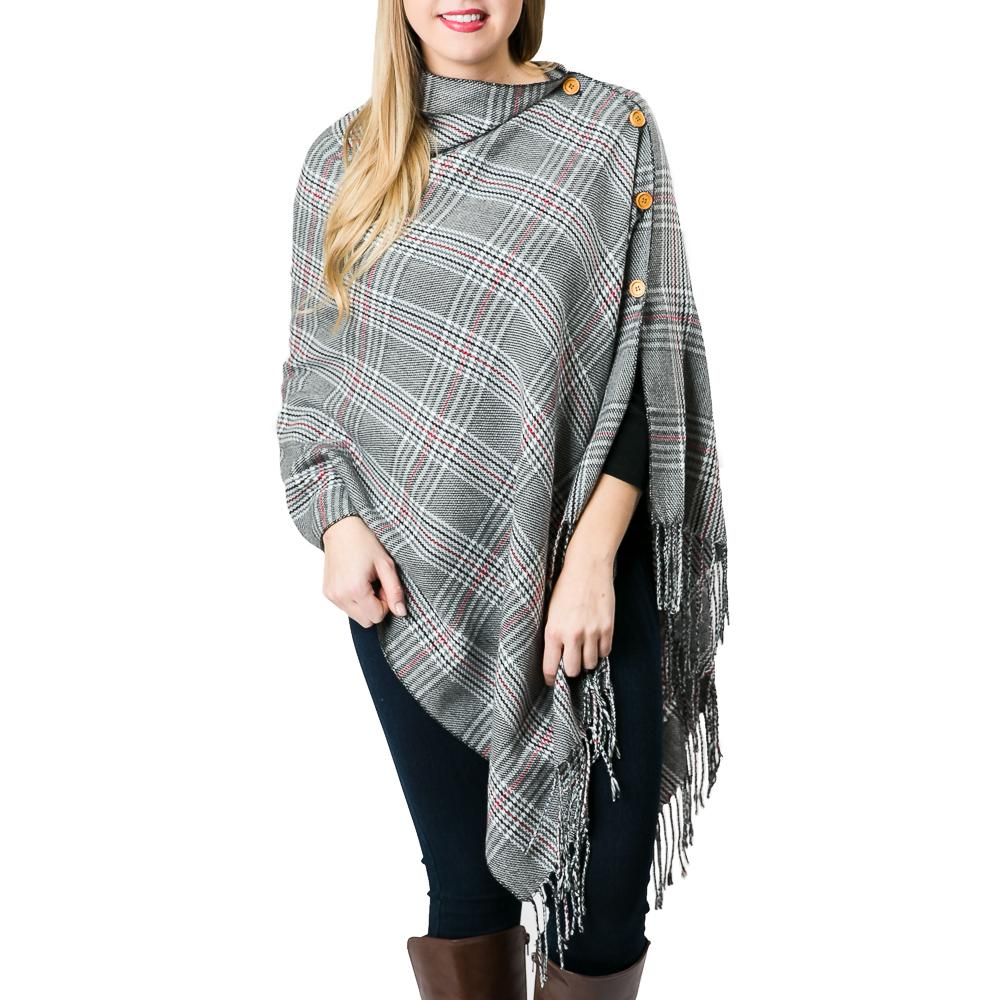 3-in-1 Grey Plaid Poncho - TOP IT OFF - The Shops at Mount Vernon