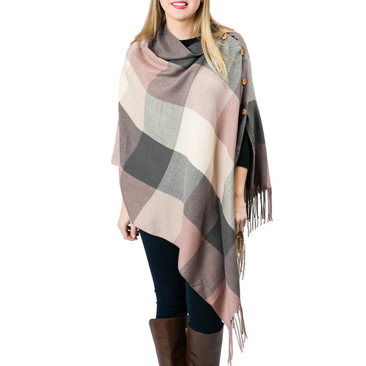 3-in-1 Pink Plaid Poncho - TOP IT OFF - The Shops at Mount Vernon
