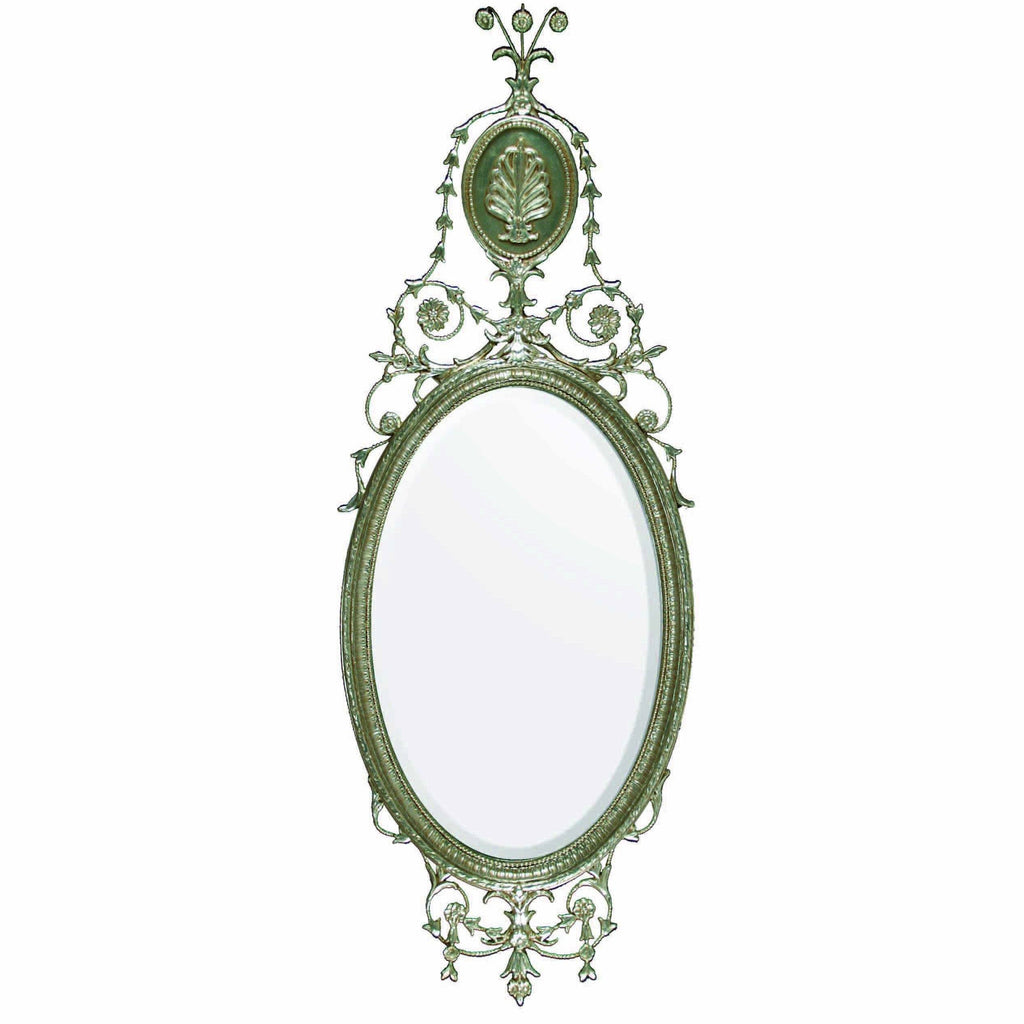 Mount Vernon Burnished 12kt White Gold Oval Mirror
