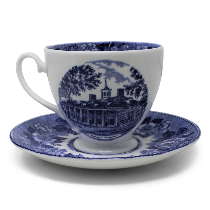 Blue Staffordshire Cup and Saucer - The Shops at Mount Vernon - The Shops at Mount Vernon