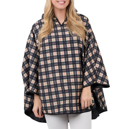 Tan and Black Plaid Reversible Rain Poncho - TOP IT OFF - The Shops at Mount Vernon