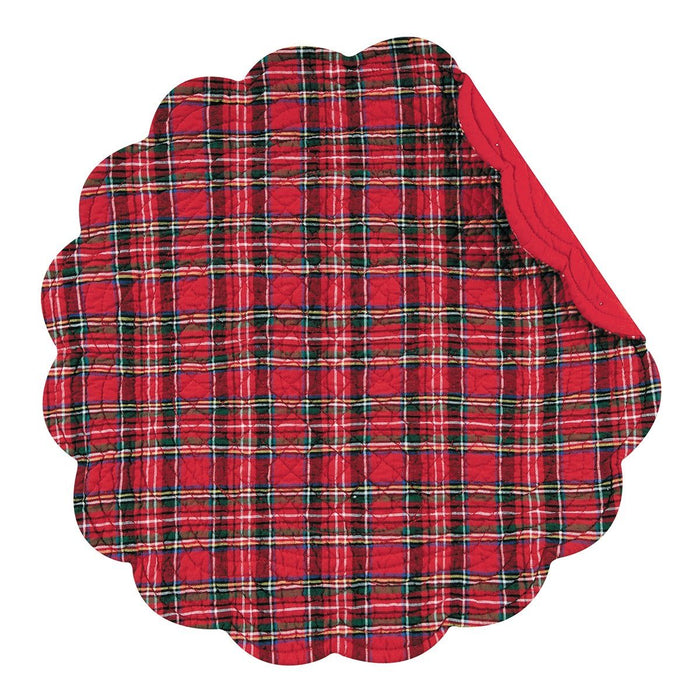 Red Plaid Round Placemat - C & F ENTERPRISE - The Shops at Mount Vernon