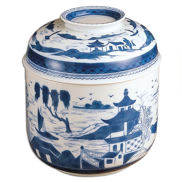 "Blue Canton 9 ½"" Temple Jar - MOTTAHEDEH & COMPANY, INC - The Shops at Mount Vernon"