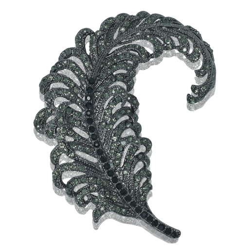 Feather Brooch - Black Diamond Crystal - At the Sign of the Gray Horse - The Shops at Mount Vernon