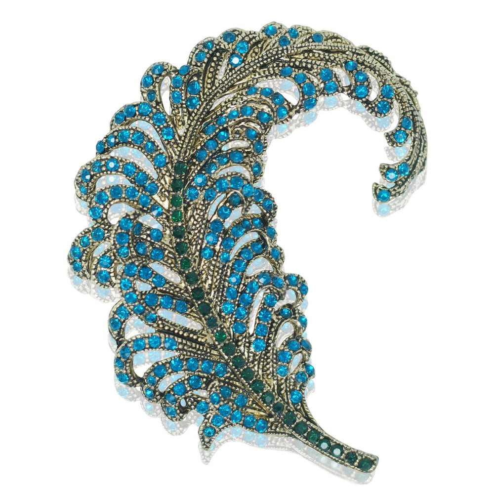 Feather Brooch - Gold and Blue Crystal - At the Sign of the Gray Horse - The Shops at Mount Vernon