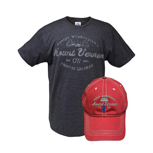 Mount Vernon Wine and Charcoal T-Shirt & Cap Combo - The Shops at Mount Vernon - The Shops at Mount Vernon