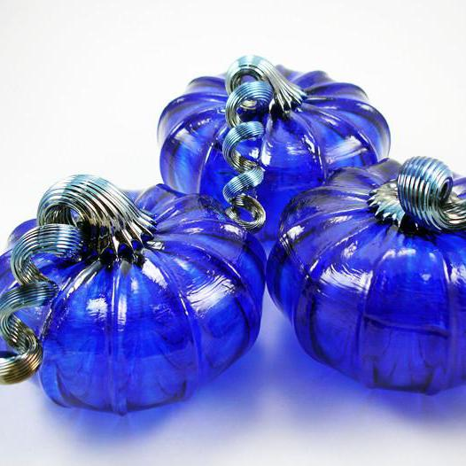 Cobalt Blue Pumpkins - LUKE ADAMS HANDBLOWN GLASS - The Shops at Mount Vernon