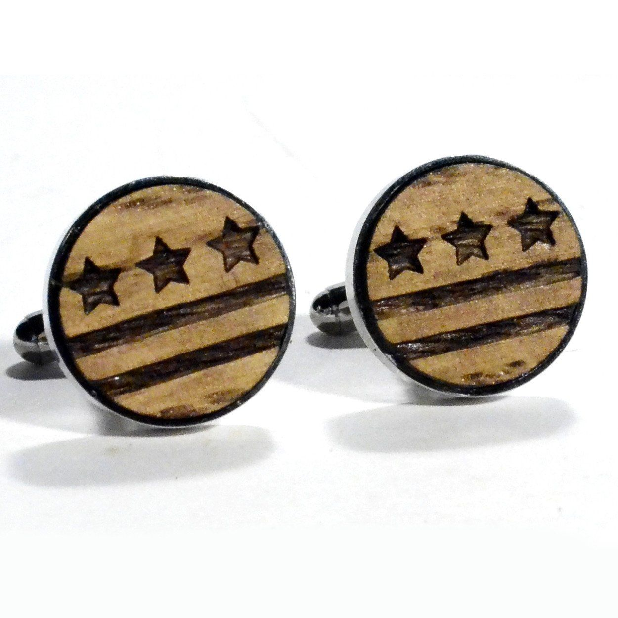 DC Flag Wood Cufflinks