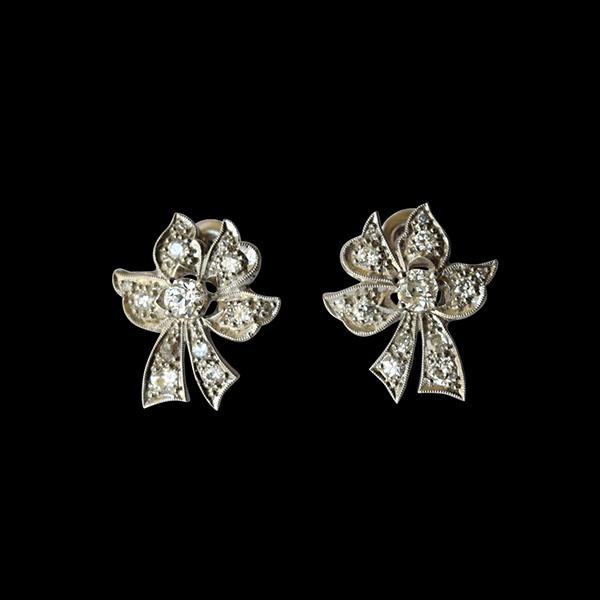 "Platinum and Diamond ""Bow"" Earrings"