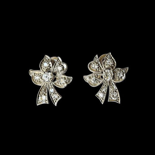 "Platinum and Diamond ""Bow"" Earrings - THE ANTIQUE GUILD - The Shops at Mount Vernon"