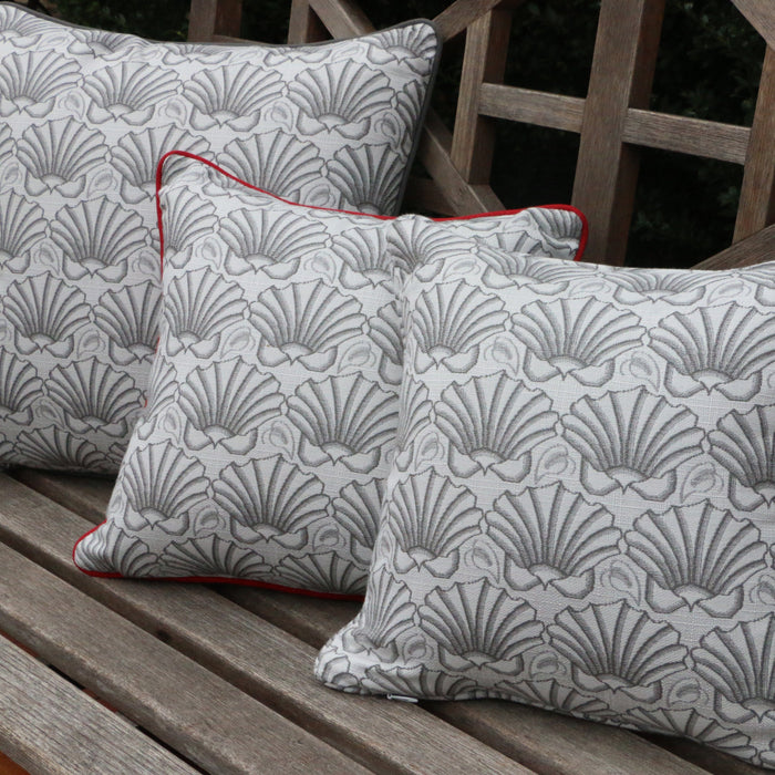 Martha's Shell Dove Gray with Dove Gray-Welt Pillows - Three Coins Cast - The Shops at Mount Vernon