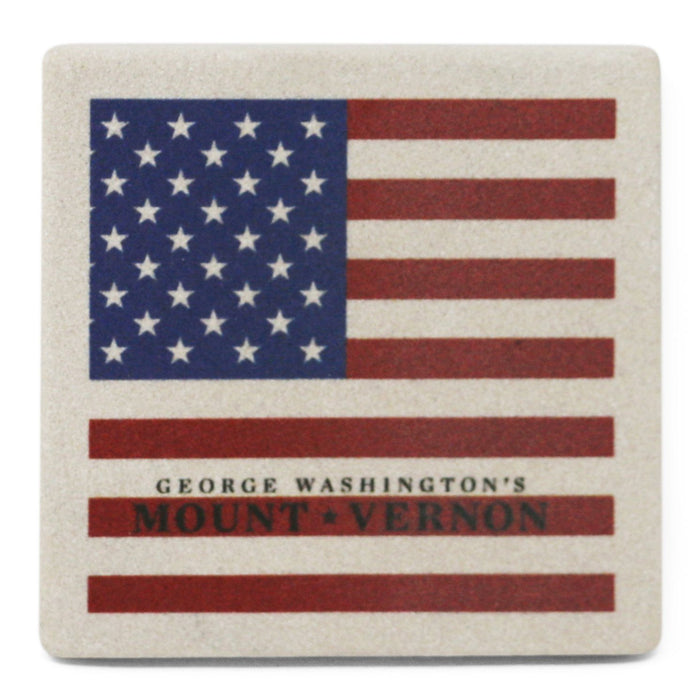 USA Flag Thirsty Sandstone Coaster - AMERICANA SOUVENIRS GIFTS - The Shops at Mount Vernon