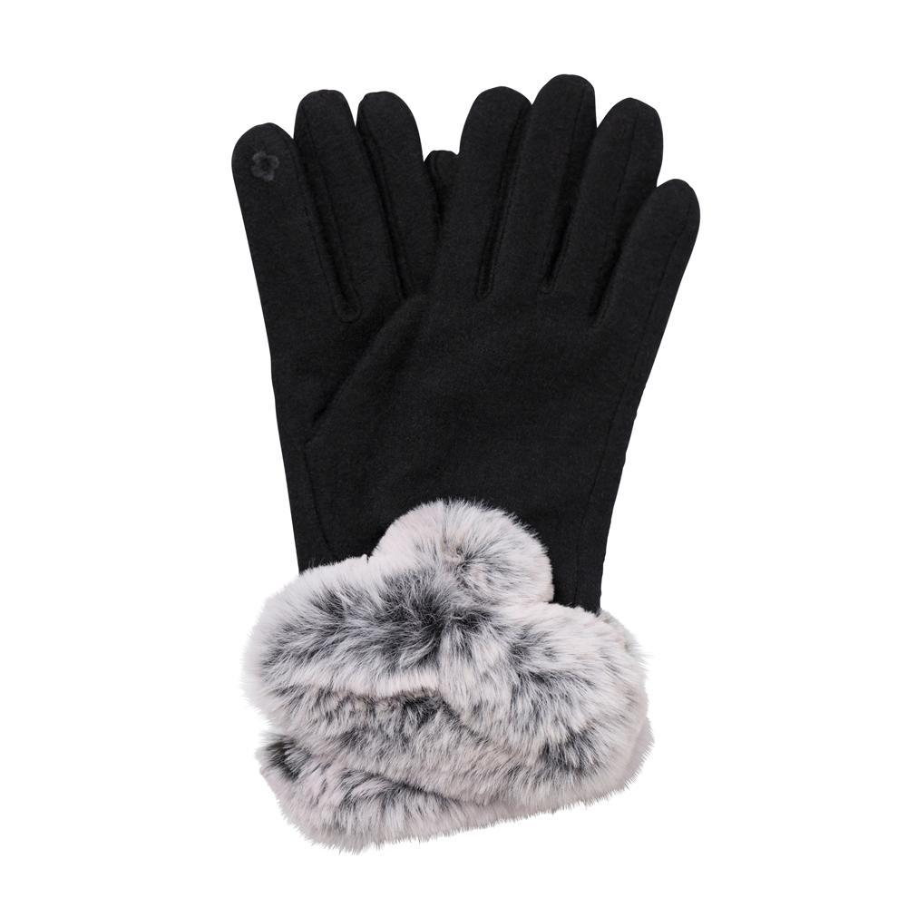 Black Darlene Fur Cuff Gloves - TOP IT OFF - The Shops at Mount Vernon