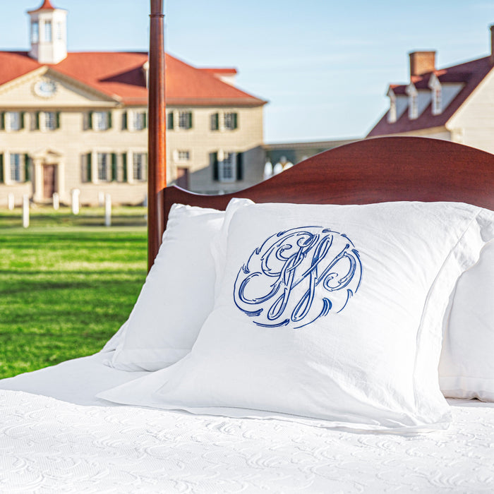 Washington's Cypher Embroidered Euro Sham - Owen Suter Fine Furniture - The Shops at Mount Vernon