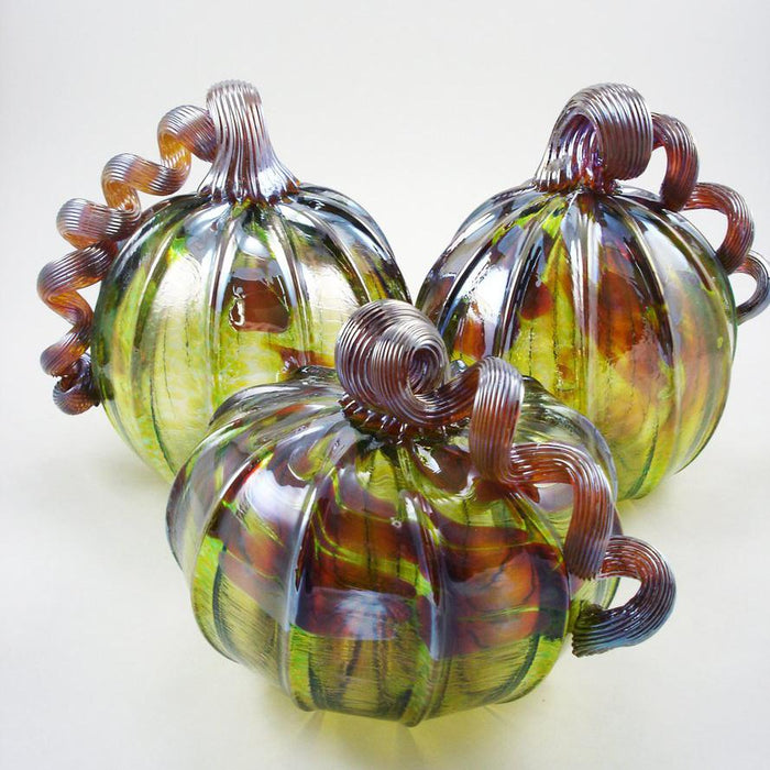 Autumn Green Squat Pumpkin - LUKE ADAMS HANDBLOWN GLASS - The Shops at Mount Vernon