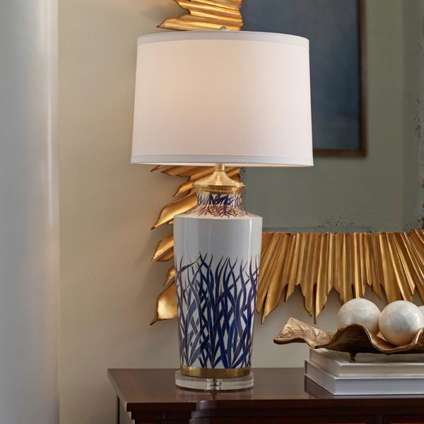 Mount Vernon Blue and Gold Sea Grass Hamilton Lamp - WILDWOOD LAMPS - The Shops at Mount Vernon
