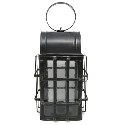 Bubble Glass Grid-Braced Early American Tin Lantern