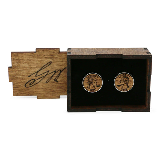 GW Bust Wood Cufflinks - The Shops at Mount Vernon - The Shops at Mount Vernon