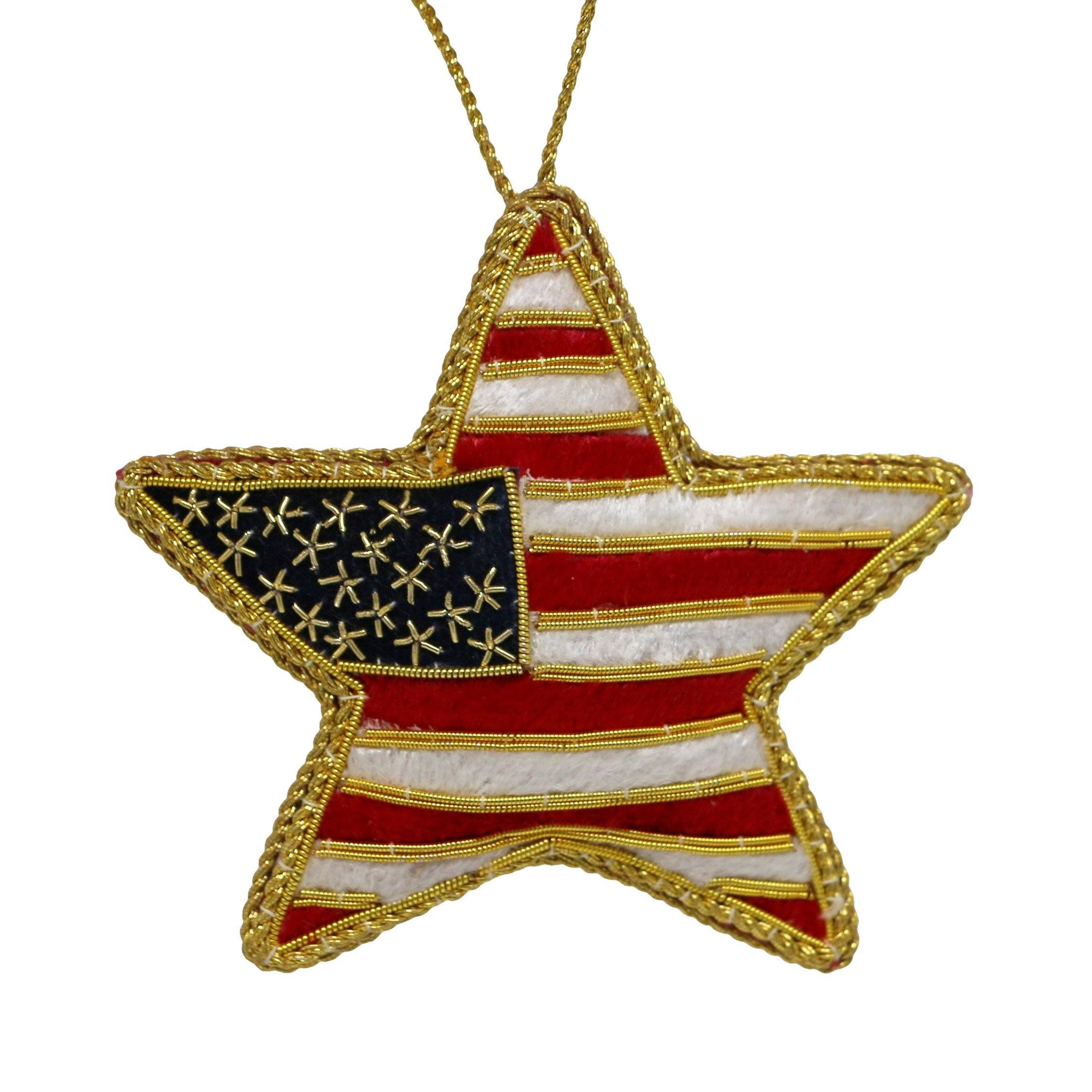 Embroidered US Flag Star Ornament