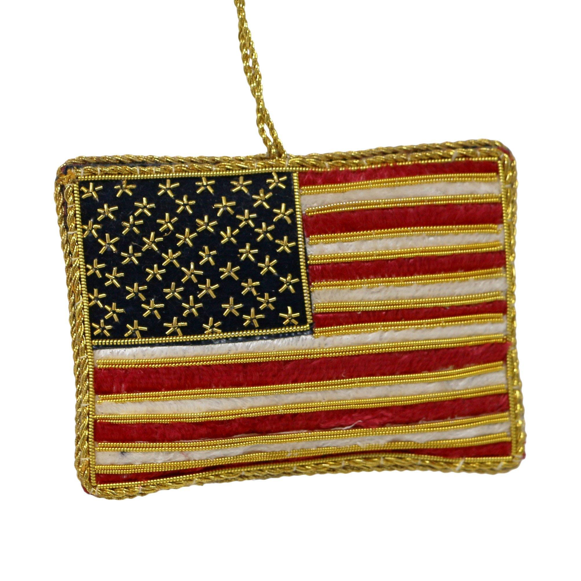 Embroidered US Flag Ornament