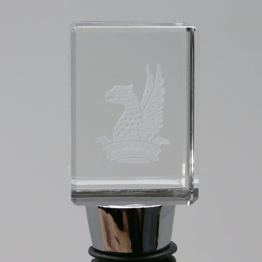 Laser Etched Griffin Crystal Wine Stopper - The Shops at Mount Vernon - The Shops at Mount Vernon