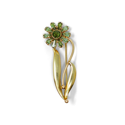 Green Tourmaline Flower Brooch