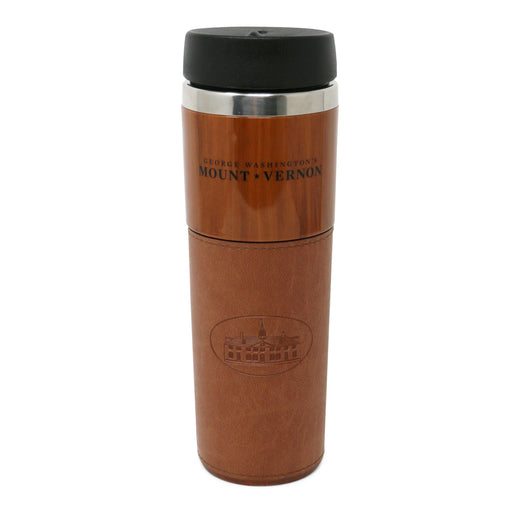 Woodgrain Travel Mug with Tan Trim - The Shops at Mount Vernon - The Shops at Mount Vernon