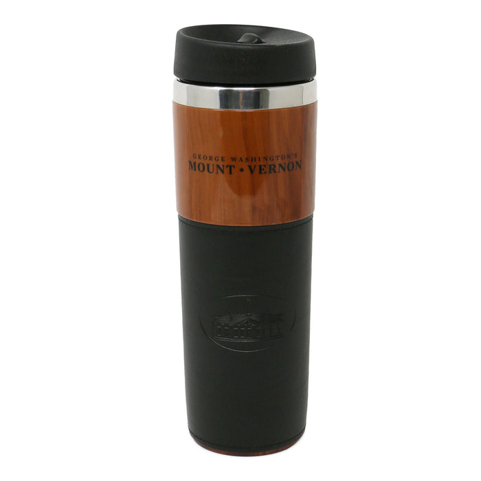 Woodgrain Travel Mug with Black Trim - The Shops at Mount Vernon - The Shops at Mount Vernon