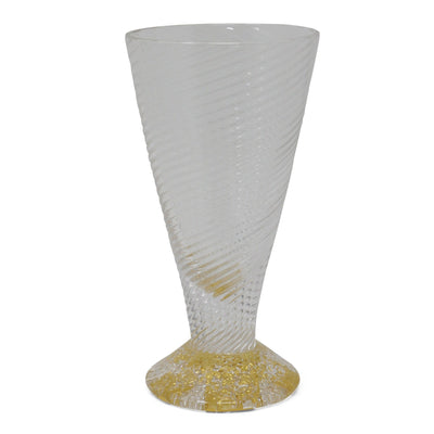 Blown Glass Cordial Cup with Gold Accents